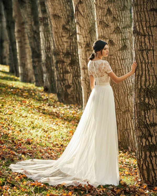 Boho Kleid Hochzeit mit T-Shirt Ärmeln
