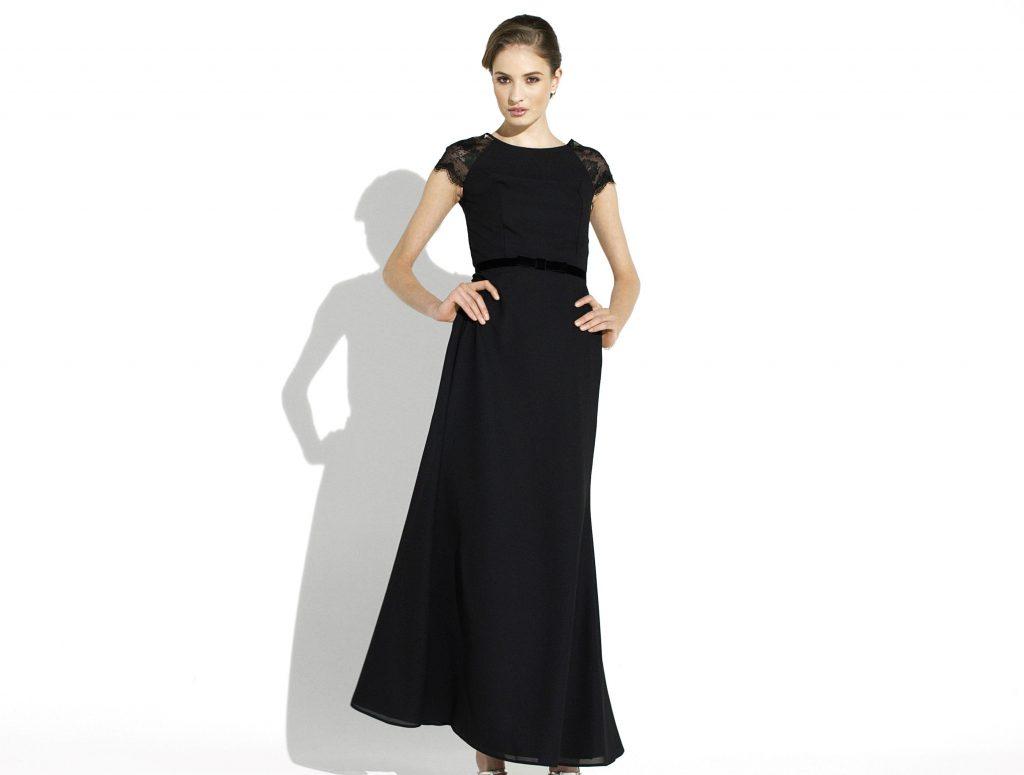 Abendkleid schwarz hochgeschlossen mit Spitze