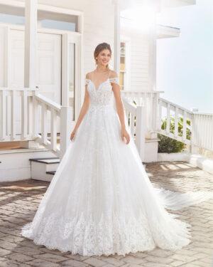 Brautkleid Prinzessin mit Schulterschleppe doppelter Spitzenlage Brautmode Braunschweig