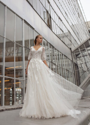 Moderne Braut Brautkleid Goslar Langarm Stäbchenspitze